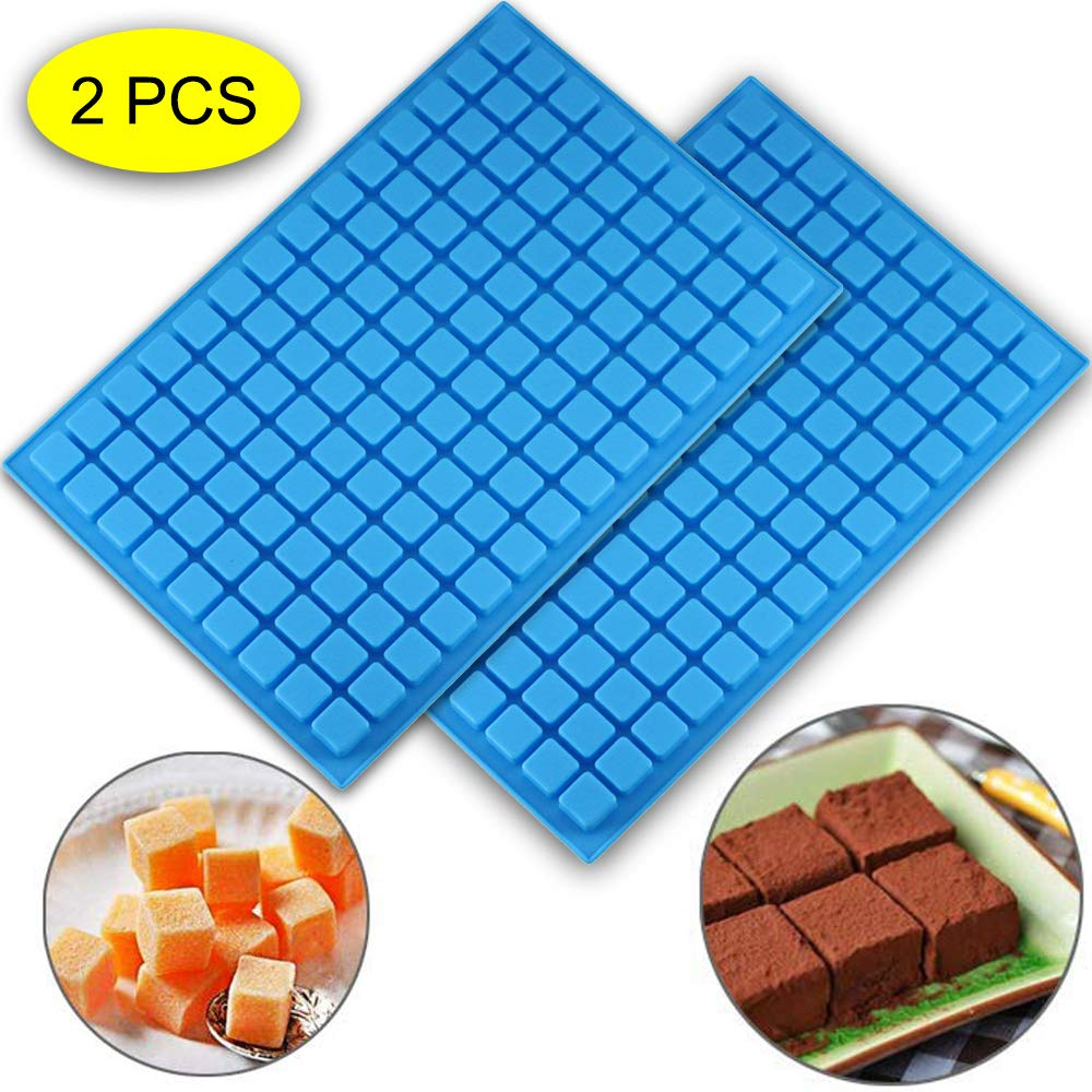 (2 PCS)126 Cavity Square Silicone Mold/Mini Candy Molds for Chocolate Gummy Ice Cube Jelly Truffles Pralines Caramels Ganache Random Color (11.53''x7.63''x0.47'')