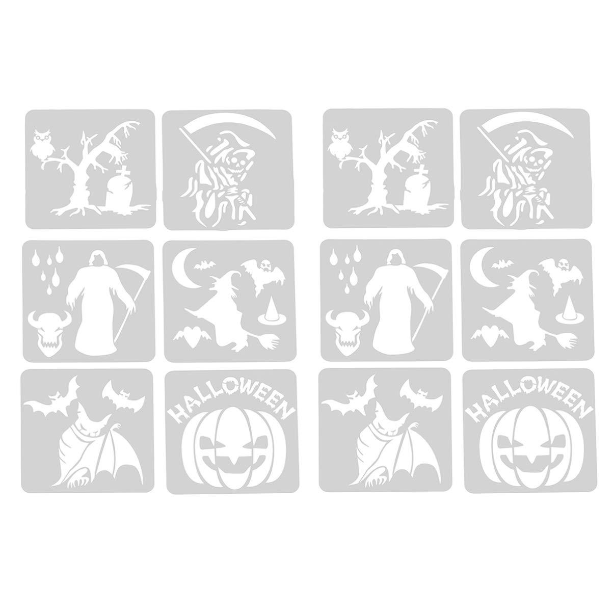 SUPVOX 12pcs Halloween Painting Stencils Set Drawing Tool Pumpkins Mould Set Art Painting Spraying DIY Craft for Kinder Halloween Party Painting Decoration
