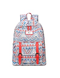 """Artone Tribal Bohemia Water Resistant Big Capacity Backpack Padded School Daypack With Laptop Compartment Fit 14"""" Notebook Red"""