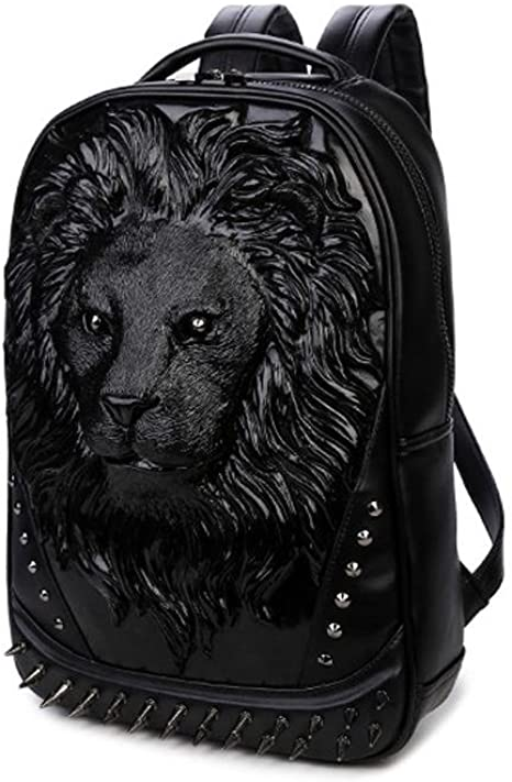 Outdoor Student Backpack,Gold 3D PU Leather Cool Backpack 3D Mens Waterproof Laptop Bag