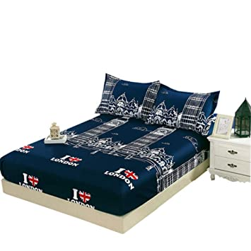 Kevin Bin Funda Protectora de colchón para colchón Simmons de sábanas de algodón para Estudiantes +2 Piezas Funda de Almohada Cubrecama Antideslizante 120 ...