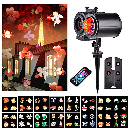 Echoming Christmas Projector Lights, 16 Pattern Slides Ocean Wave Projection Holiday Decoration Light Outdoor Indoor with Remote Controller for Christmas, Halloween, Parties, Birthday or Easter
