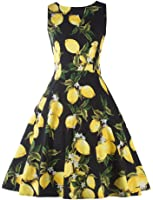 YACUN Women's 1950s Vintage Floral Swing Cocktail Rockabilly Dress