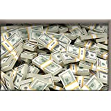Uphome Vivid 3D Stack of Dollars Money Pattern Bathroom Floor Sticker - Removable Water and Skid Resistant PVC...