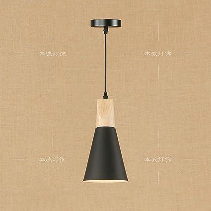 XSPWXN 1-Light Forma de cono de metal de techo de madera ...