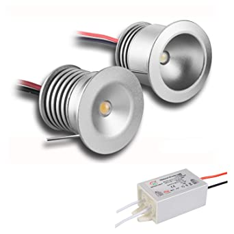 Paquete de 6 lámparas con mini bombillas LED, de KPSUN; 12V 1W, empotrables, posición downlight, ...