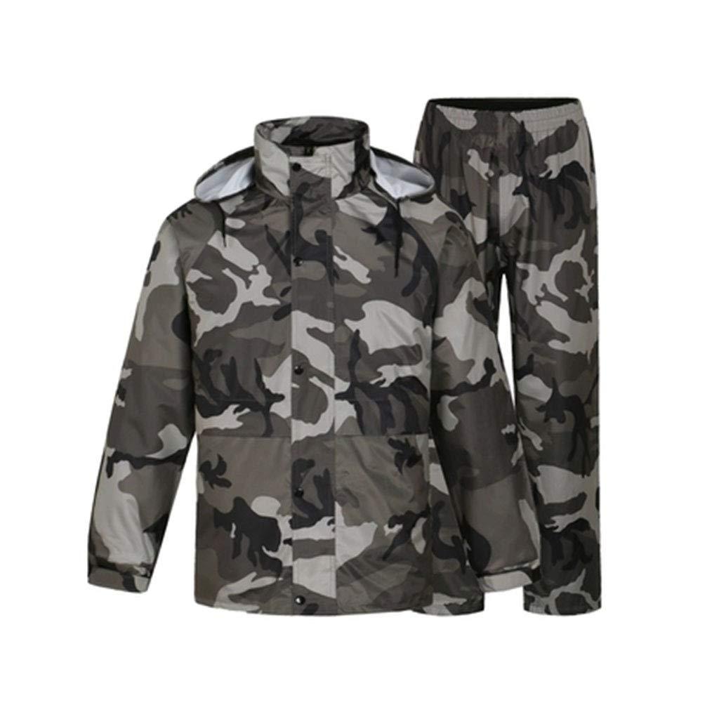 mode Camouflage Suit grand WaWeiY Camouflage imperméable Pantalon de Pluie Costume Split imperméable épais imperméable Corps Encravater, adapté pour Les Voyages, Festivals, activités de Plein air