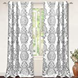 """DriftAway Samantha Thermal/Room Darkening Grommet Unlined Window Curtains, Floral/Damask Medallion Pattern, Set of Two Panels, Each (52""""x96"""",Gray)"""