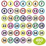 480 PCS Polka Dot 1-40 Numbers Stickers for