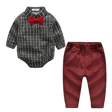 5ff3b549a1d Baby Boys Infant Gentleman Grid Long Sleeve Shirt Set Suit Bow Tie Romper  Jumpsuit Clothes 3Pcs