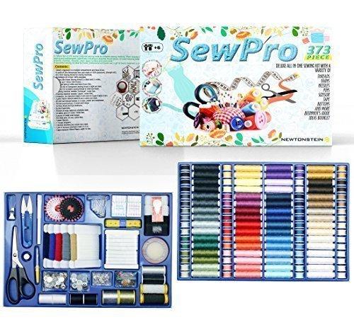 SewPro - 373-teiliges alles-in-einem Luxus-Näh-Set mit verschiedenen Fäden, Strickgarnen, Nadeln, Stecknadeln, Schere, Maßband, Knöpfen und mehr + Anleitung für Anfänger, BROSCHÜRE mit Ideen