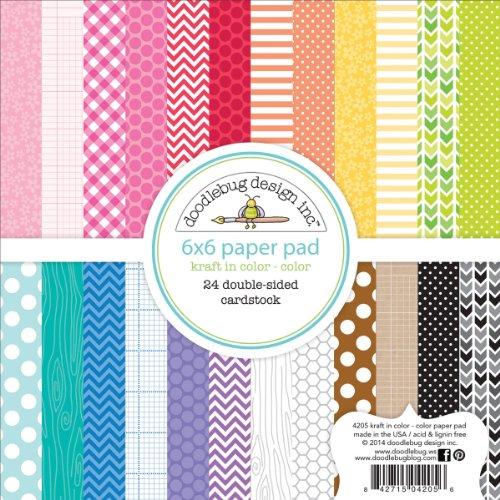 Doodlebug Kraft 24 Sheets Paper Pad, 6 by 6-Inch