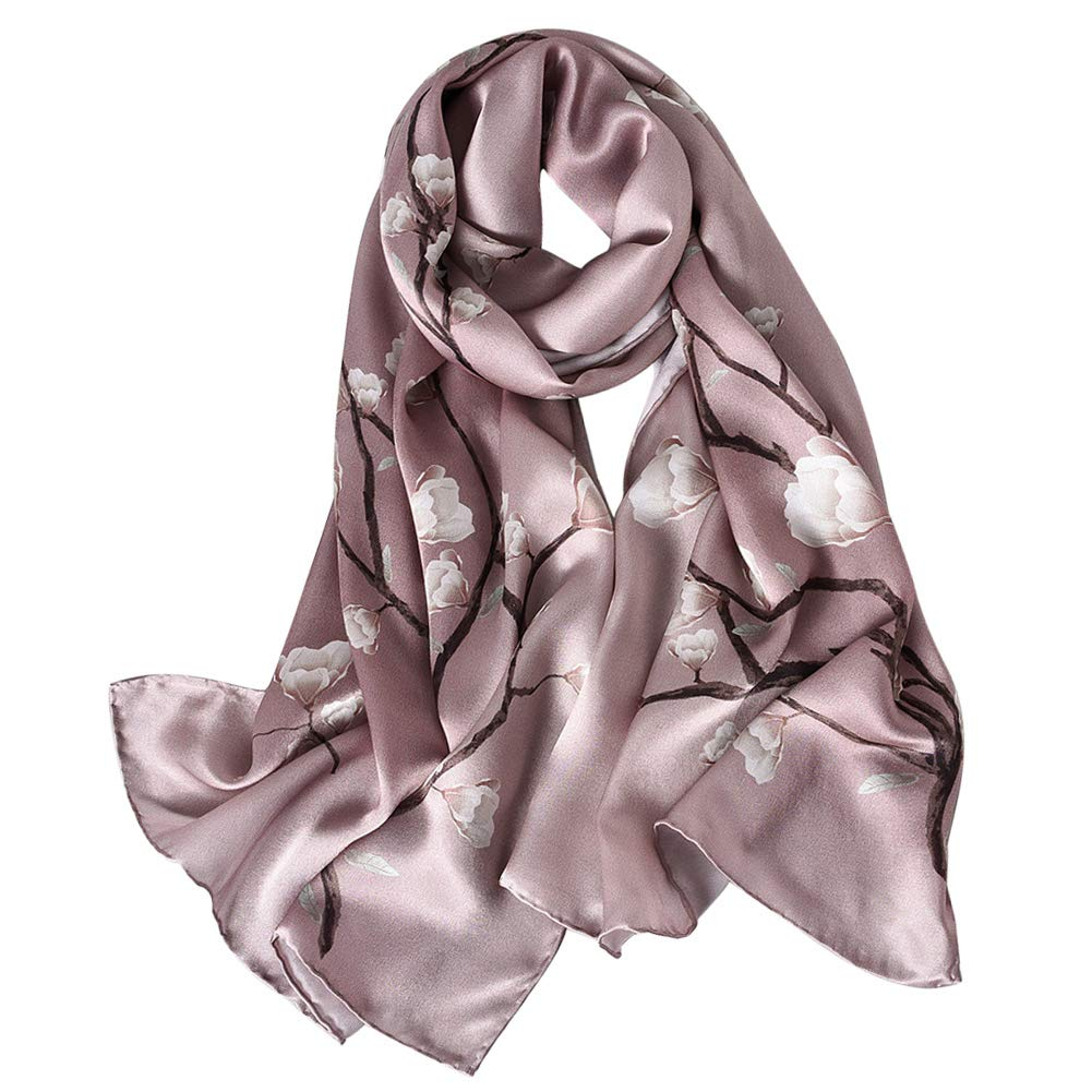 STORY OF SHANGHAI Womens 100% Mulberry Silk Head Scarf For Hair Ladies Silk Floral Head Scarfs by STORY OF SHANGHAI