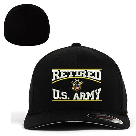 6ba131b3d93 Retired Army U.S.Army Retired Flexfit Baseball Cap Military Hat Black