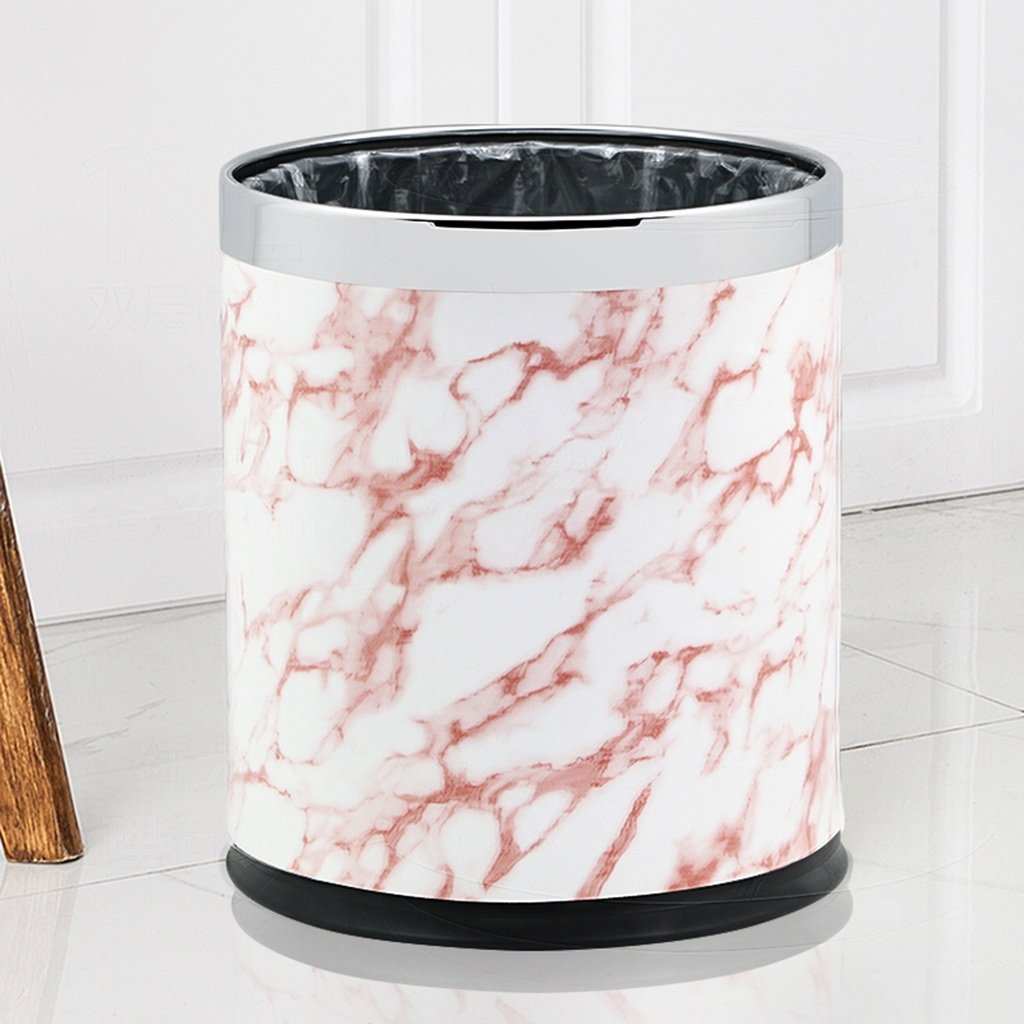 CSQ Household Trash Can, Double Layer Stainless Steel Trash Can Without Cover Creative Living Room Bedroom Kitchen Bathroom Hotel Office Marble Pattern Trash Can 10L (Color : C)