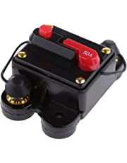 Perfk 50A 50Amp Circuit Breaker with Manual Reset Car Stereo Audio Fuse Holder Inline Inverter High Current for DC 12V 24V Automobile