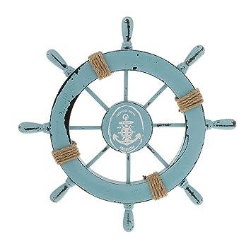 Rosenice Steuerrad Mit Anker Holz Wanddeko Maritime Deko Amazonde