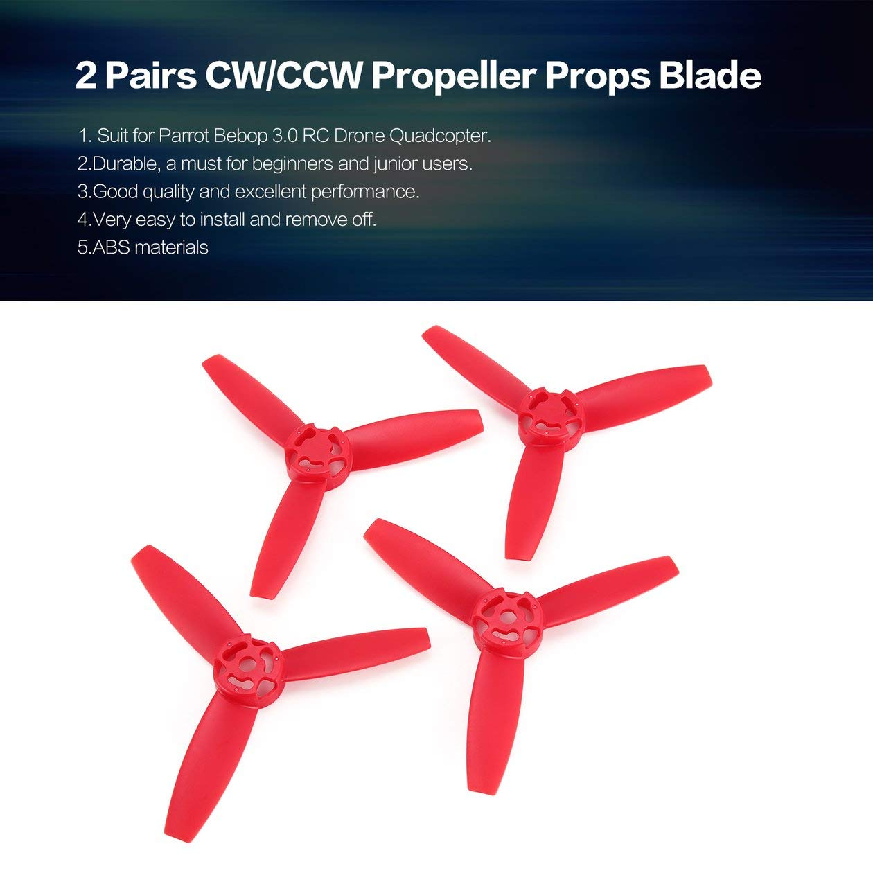 BIYI 2 pares CW/CCW Propulsor Props Blade para Parrot Bebop 3.0 RC ...