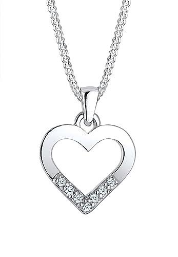 Diamore Damen-Kette mit Anhänger Herz 925 Silber Diamant (0.07 ct) Weiss Brillantschliff 45 cm – 0101392616_45