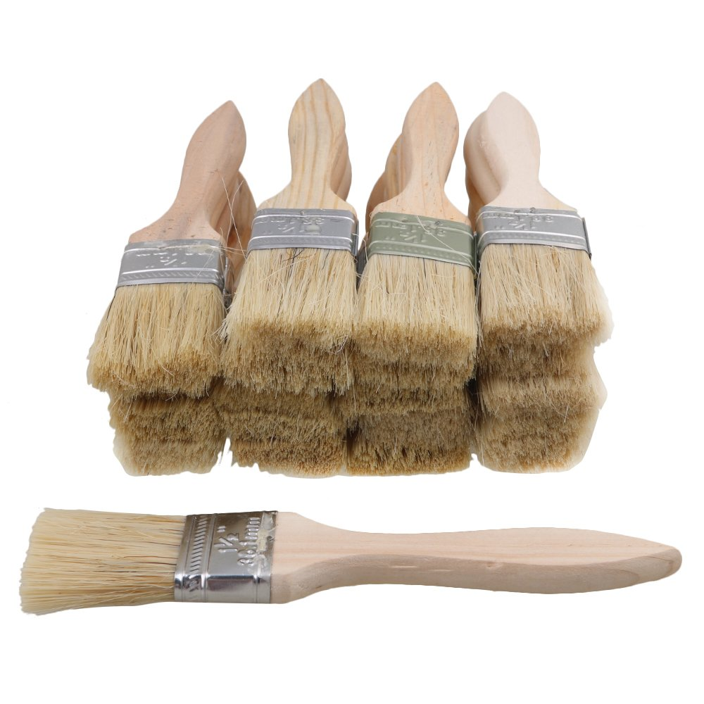 Yibuy 20pcs Wood Color Handle Chip Bristles Brush Oil Paint Brushes 1.4 inch