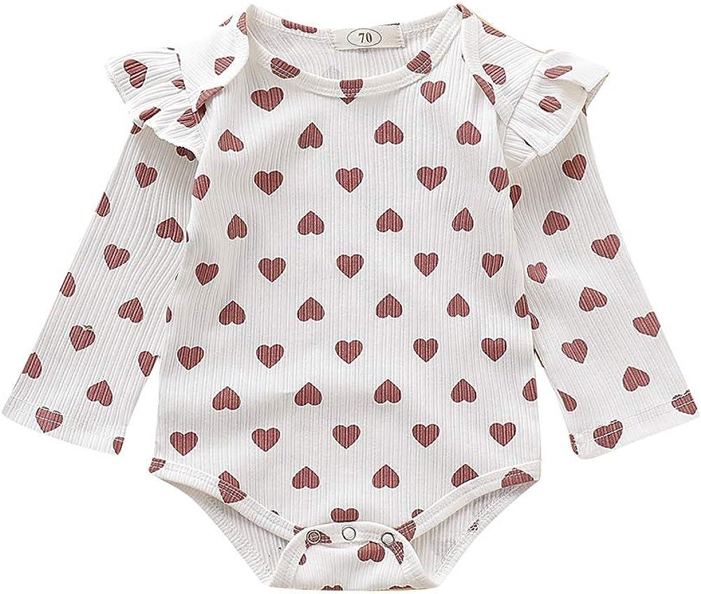 Miyanuby Neugeborenes Baby M/ädchen Flare /Ärmel Herz Print Crewneck Strampler One Piece Bodysuit Kleidung 0-18 Monate