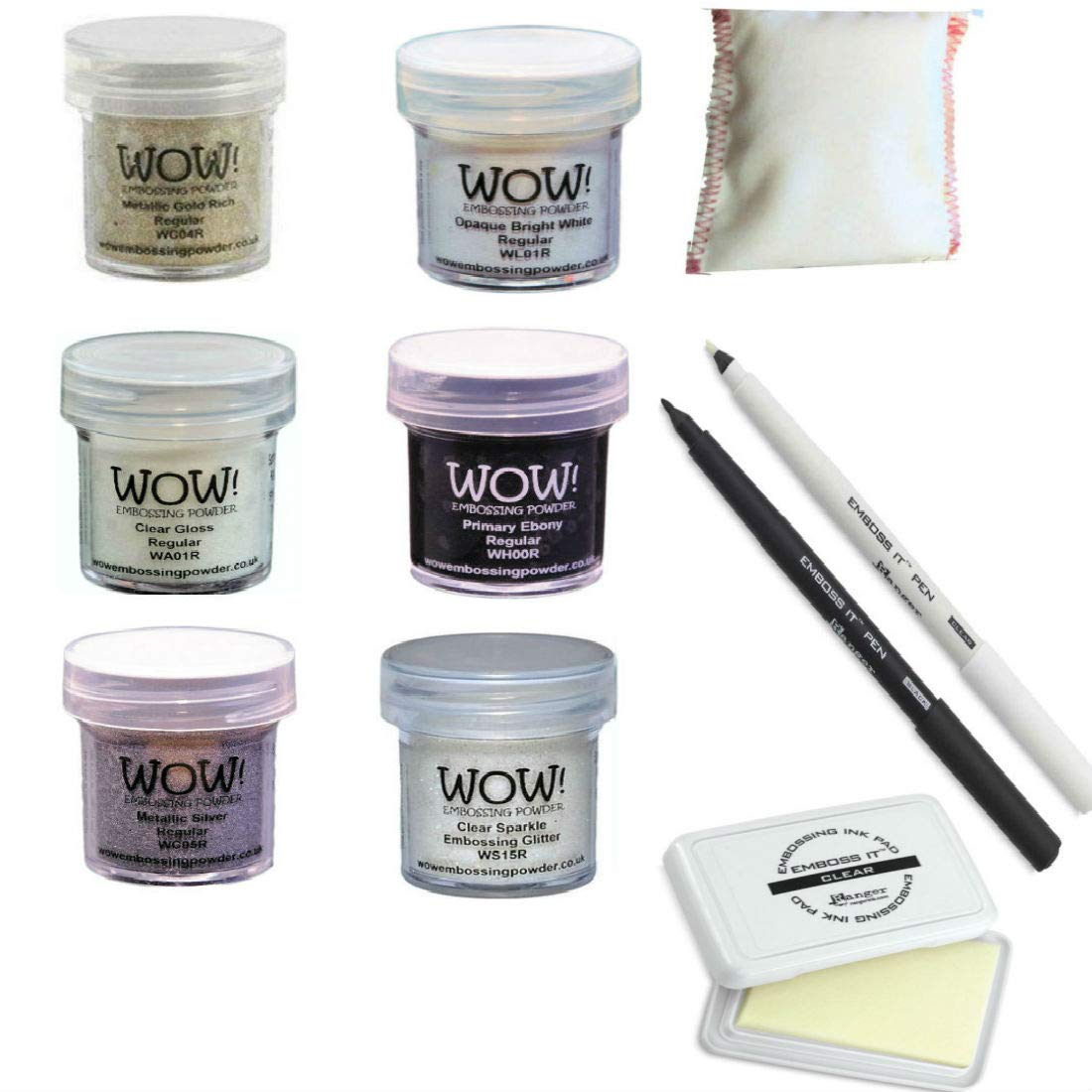 Embossing Starter Kit with Powders, Foam Pad, Static Pad and Pens (Black/White)