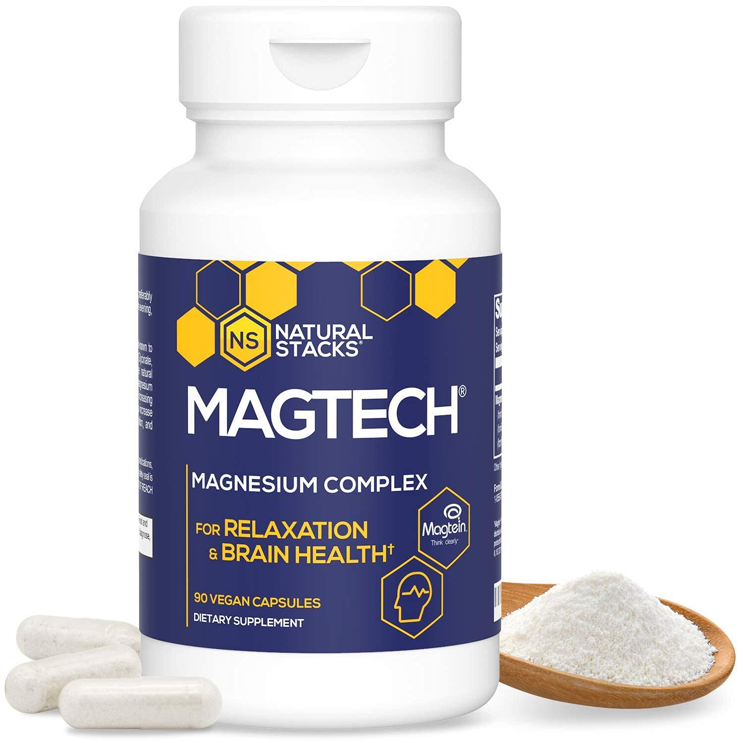 Natural Stacks MagTech Magnesium Supplement 90 ct. - High Quality Triple Blended 100% Chelated Magnesium Complex - L-Threonate (Magtein) for Memory & Focus - Glycinate for Sleep & Relaxation - Taurate for Muscle Cramps & Recovery