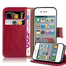 Cadorabo - Luxury Book Style Wallet Design Case for Apple iPhone 4 / 4S with 2 Card Slots and Stand Function - Etui Case Cover Protection Pouch in WINE-RED