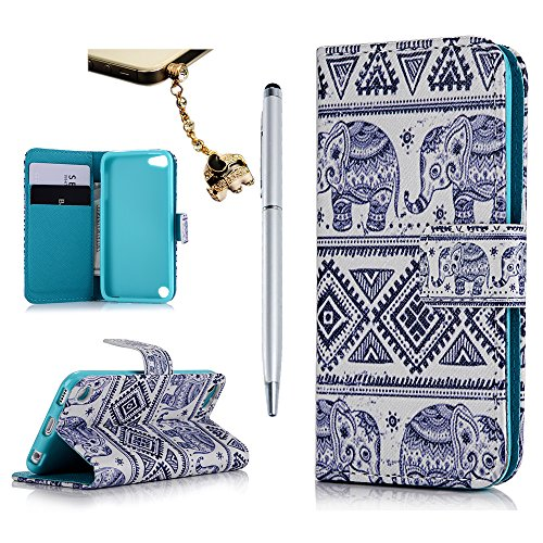 iPod Case iPod Touch 5 Case- MOLLYCOOCLE Stand Wallet Purse Credit Card ID Holders Magnetic Tribal Elephant Pattern Design PU Leather Ultra Slim Fit Flip Folio Cover for iPod Touch 5 5th Generation