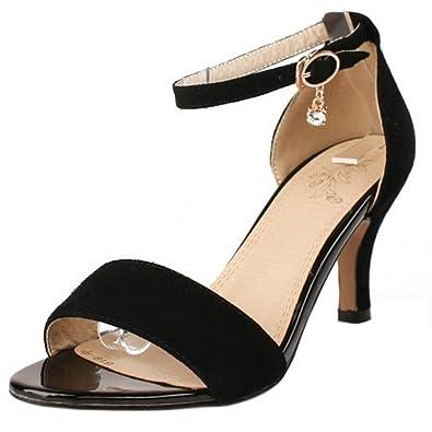 Women's Ankle Strap Kitten Heel Sandals Open Toe Thin Mid Heel Shoes