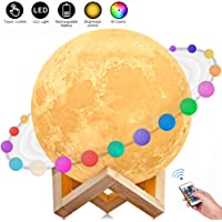 Moon Lamp, AGM 3D Printed 16 Colors LED Moon Light with Stand, Moon Night Light Seamless 15cm Lunar Moon Night Light with Stand-Christmas and Any Festival Best Gift (5.9inch)