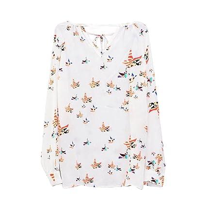 Manga corta,Camisa de chifón de manga larga con cuello en V y estampado de