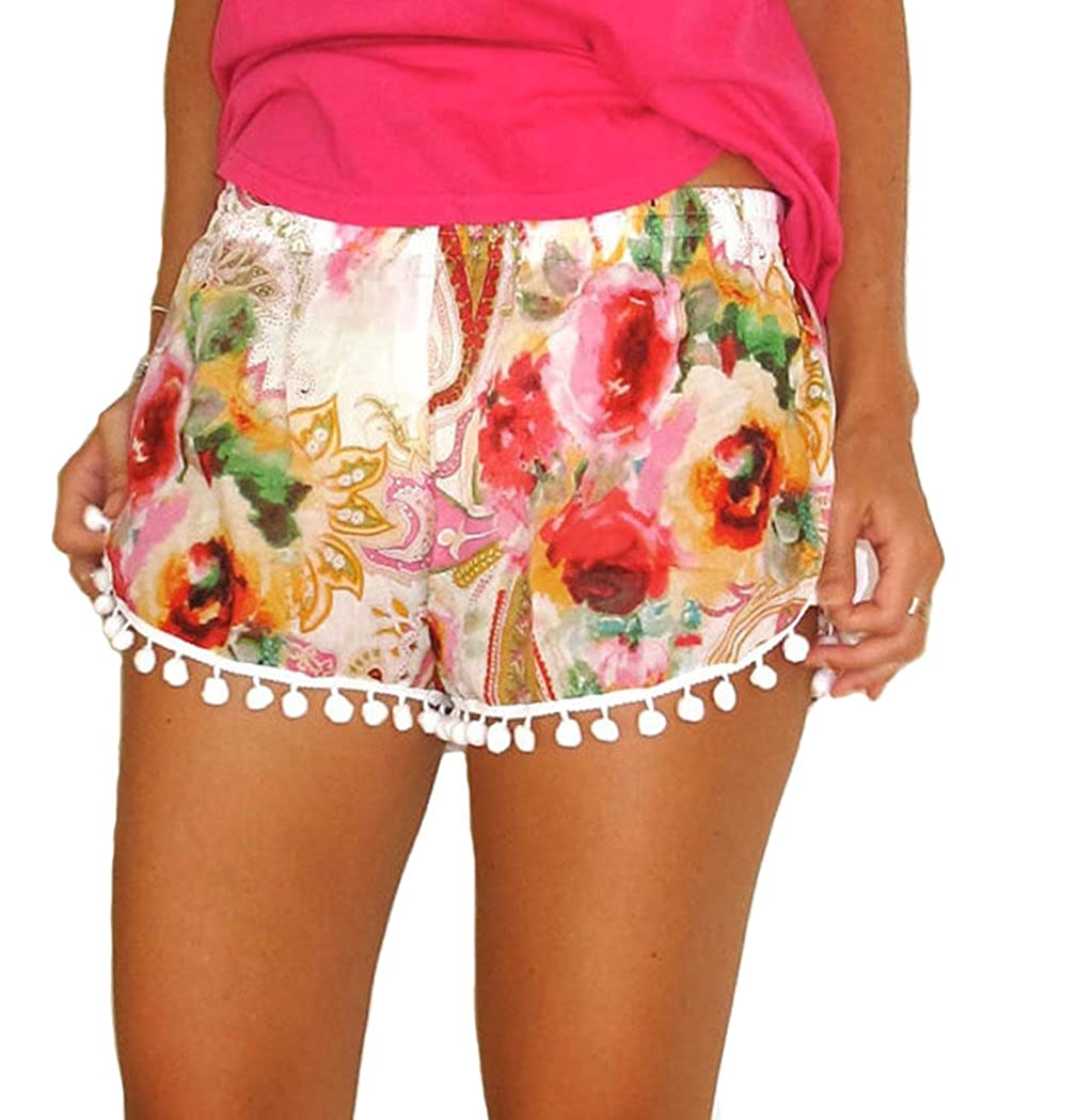 Women's Small Balls Tassel Edge Floral Print Beach Shorts, Yellow/Green PinRoad GUARD-YF04