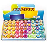 Fun Central AU199 50pcs Assorted Stampers, Stamp Sets for Kids, Rubber Stamps for Kids - for Party Favors, Gifts, Prizes, Rewards, Giveaways