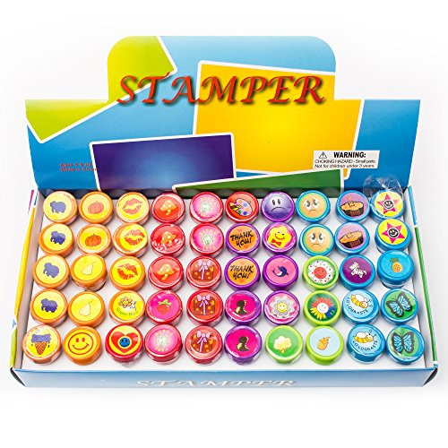 Fun Central AU199 50pcs Assorted Stampers, Stamp Sets for Kids, Rubber Stamps for Kids - for Party Favors, Gifts, Prizes, Rewards -
