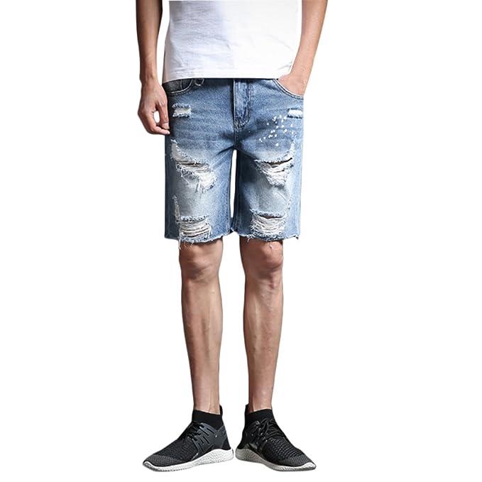 Zhhlinyuan Hombre Pantalones Cortos Vaqueros Pantalones ...