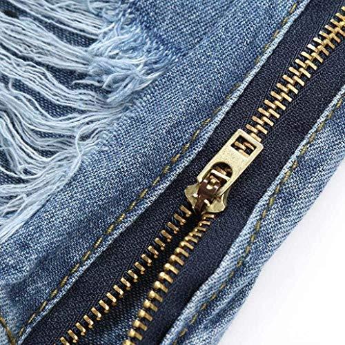 Pantalones Delgado Cómodo Sólido Casuales Largo Con Vaqueros Blau Rasgado Mezclilla Cremallera Battercake Destruido Color De Los Hombres d7dq4x