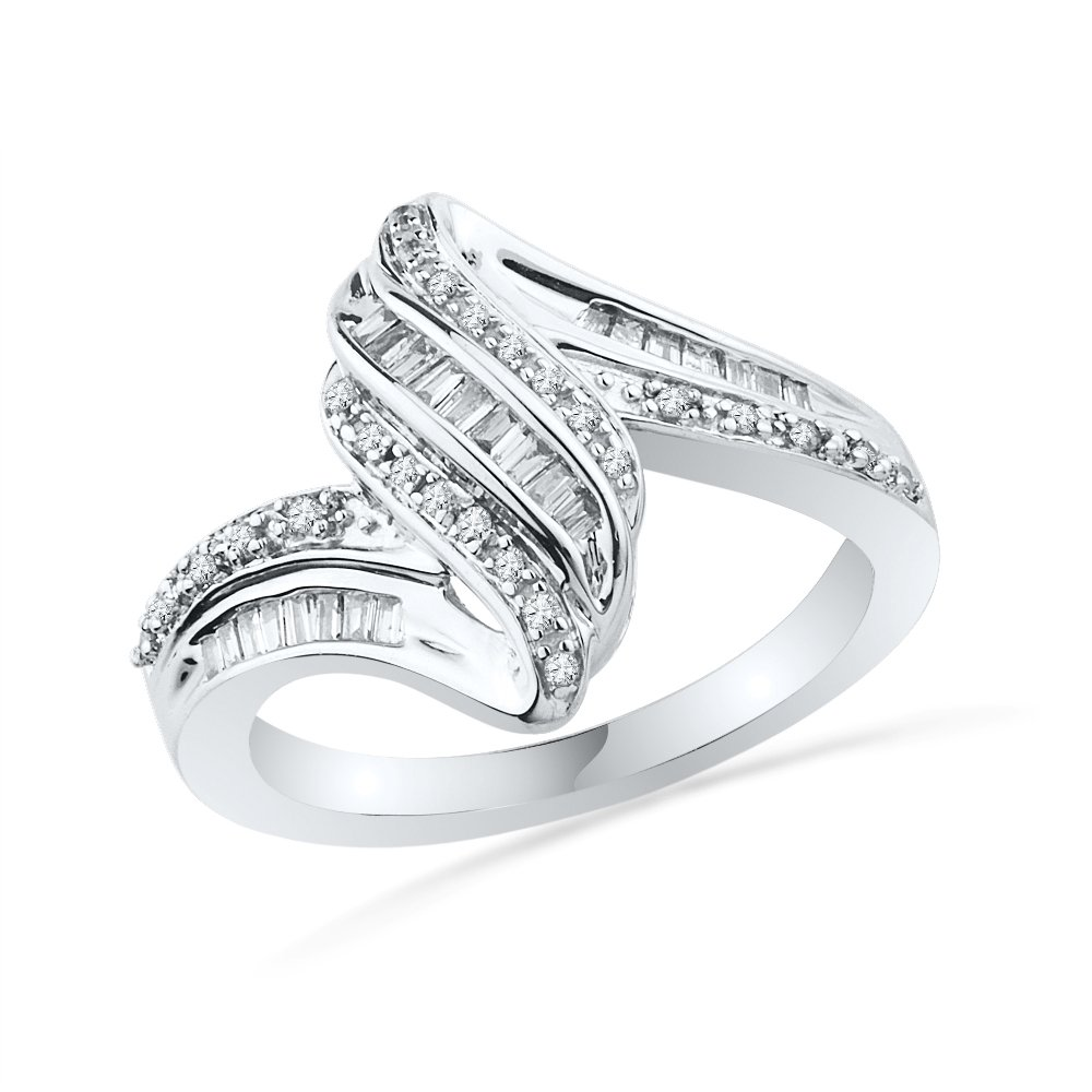 Sterling Silver Baguette and Round Diamond Twisted Fashion Ring (1/4 cttw)