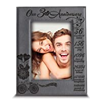 BELLA BUSTA- Our 3 Years Anniversary -2017-2020- Years,Months, Weeks, Days, Hours, Minutes, Seconds- Engraved Leather Picture Frame (5 x 7 Vertical)