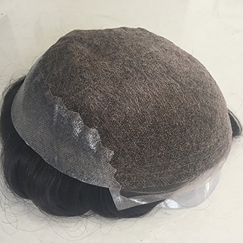 Mens Toupee Foryang Lace With Skin Human Hair Pieces Toupee Hair Replacement System For Men 8x10 Off Black 1B by Foryang (Image #3)