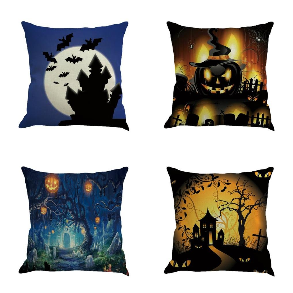 Gotd Vintage Halloween Pillow Covers Decorations Throw Pillow Case Cushion Happy Halloween Decor Clearance Indoor Outdoor Festive Party Supplies (Multicolor A) by Goodtrade8 (Image #1)