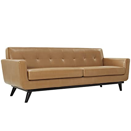 Exceptionnel Modway Engage Mid Century Modern Upholstered Leather Sofa In Tan