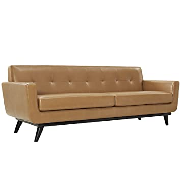 Modway Engage Mid Century Modern Upholstered Leather Sofa In Tan