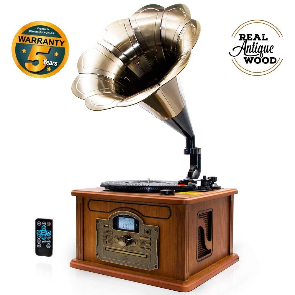 Lauson CL147 Gramófono Retro Bluetooth Función Encoding, Tocadiscos Vintage Trompeta de Madera con Altavoces Incorporados, Radio, CD, USB, MP3, 3 ...
