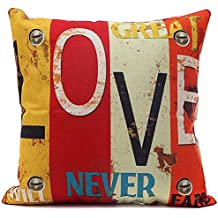 Doupoo Square LOVE Theme Cotton Throw Pillow Case Distressed Vintage Cushion Cover 18 x 18 - Pillow cover Decorative (18 x 18 inch, LOVE)