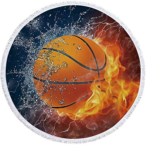SOFTBATFY Basketball Thick Terry Round Beach Towel/Round Beach Blanket/Round Beach Mat Roundie Tapestry/Round Yoga Mat with Fringe Tassels (Basketball Round Towel)
