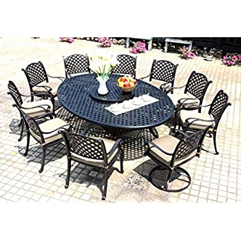 Amazoncom Cast Aluminum Dining Set Piece Outdoor Patio - Cast aluminum picnic table