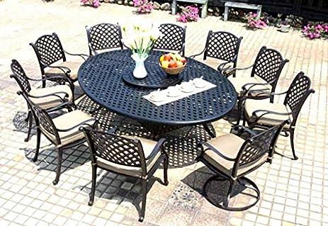 Cast Aluminum Dining Set 12 Piece Outdoor Patio Furniture Nassau  70u0026quot;x100u0026quot; Table Antique