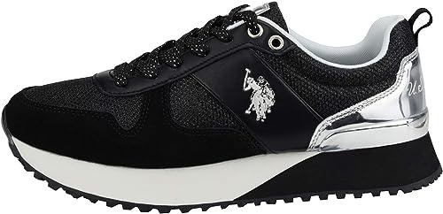 U.S.POLO ASSN. 4103W8/TS1 - Zapatillas de Cuero Mujer, Color Negro ...