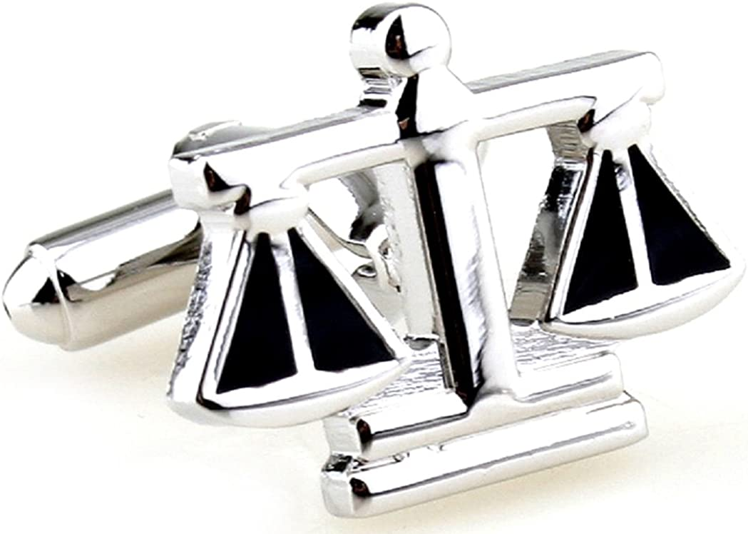 MRCUFF Scales of Justice Attorney Lawyer Judge Libra Pair Cufflinks in a Presentation Gift Box & Polishing Cloth